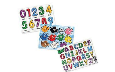 Puzzle for small hands. This one has three boards, each with a different theme. One for numbers, colors and letters. Has a peg for easy handling.
