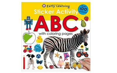 Early learning sticker activity book with coloring pages.