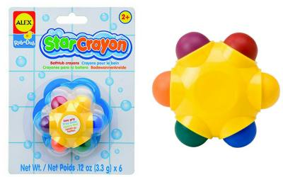 "Bath toys for young kids by Alex toys. Star shape with a crayon on each starfish ""leg"""