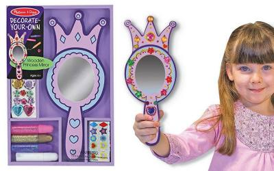 Decorate your own princess mirror. Wooden mirror in pink or purple that you 2 or 3 year old can decorate herself. Fun activity that girls love doing.