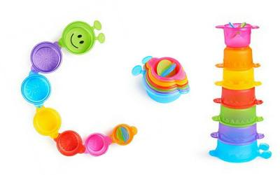 Practice stacking skills with this colorful stacking cups.