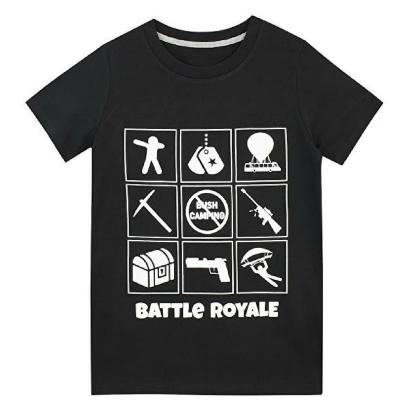 Black Battle Royal shirt for the Fortnite gamer. 9 different images are on the shirt with the prominent bush camper not allowed right in the middle -- funny .,