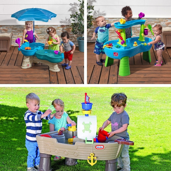 Toddler water tables for outdoor play. These are great water toys for toddlers. These are also just the right size for little kids. I especially like the one with the umbrella.
